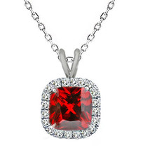 "7mm 925 Silver Cushion Cut Garnet Birth Gemstone Silver Halo Pendant 18"" Chain - $54.43"