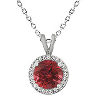 "7MM Unique Round Genuine Ruby Gemstone Basket Halo Solitaire 18"" Chain 9... - $59.38"