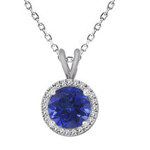 "7MM Women's Round Sapphire Gemstone Basket Halo Solitaire 18"" Chain 925 ... - $59.38"