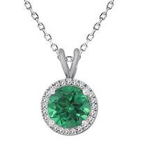 "7MM Unique Round Emerald Gemstone Basket Halo Solitaire 18"" Chain 925 Silver - $59.38"