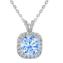 7mm 925 Silver Cushion Cut Aquamarine Gemstone Silver Halo Pendant 18 Chain - $54.43