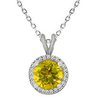 7MM Unique Round Citrine Gemstone Basket Halo Solitaire 18 Chain 925 Silver - $59.38