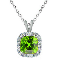 "7mm 925 Silver Cushion Cut Peridot Gemstone Silver Halo Pendant 18"" Chain - $54.43"