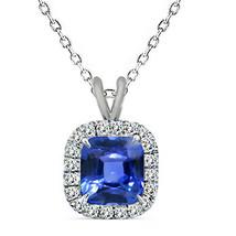 """7mm 925 Silver Cushion Cut Sapphire Birth Gemstone Silver Halo Pendant 18"""" Chain - $54.43"""