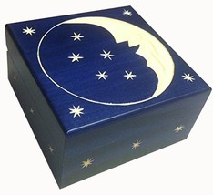 Crescent Moon and Stars Wooden Box Polish Handmade  Keepsake Jewelry Box - €24,04 EUR