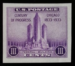 1933 3c Chicago, Imperforate Single Stamp issued without gum Scott 731a ... - $1.09