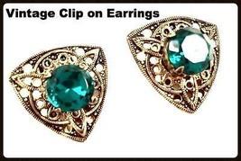 Vintage Emerald Green Rhinestone Antiqued Gold Filigree Open Work Clip E... - $34.65