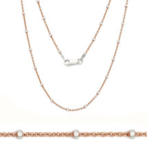 Women's Elegant 925 Silver 14K RG Bead Cable Chain Necklace All Sizes 2 Tone - $19.76+