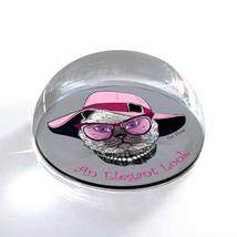 """Elegant Cat Pink Hat Text Illustration Art 2"""" Crystal Dome Magnet or Pap... - $15.99"""
