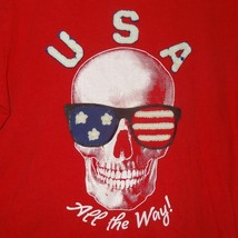 Red U.S.A. All the Way T-Shirt Skull Size Large (10-12) Old Navy - $20.82