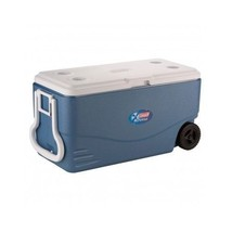 Cooler Ice Chest Coleman Pull Handle Wheels Blue Tailgate Party 100 Qt 1... - $74.95