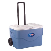 Cooler Ice Chest Coleman Pull Handle Wheels Blue Picnic Party 75 Qt 118 Can - $67.95