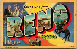Vtg Linen Postcard Large Letter Greetings From Reno Nevada NV Unused Curt Teich - $6.95