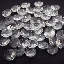 100Pcs Crystal 14mm Octagon Beads Chandelier Lamp Parts Prism Ornament F... - $8.52