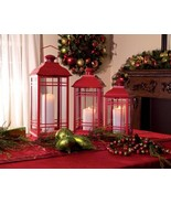 Set of 3 Red Mission-Style Glass Pillar Candle Lanterns  - $68.88
