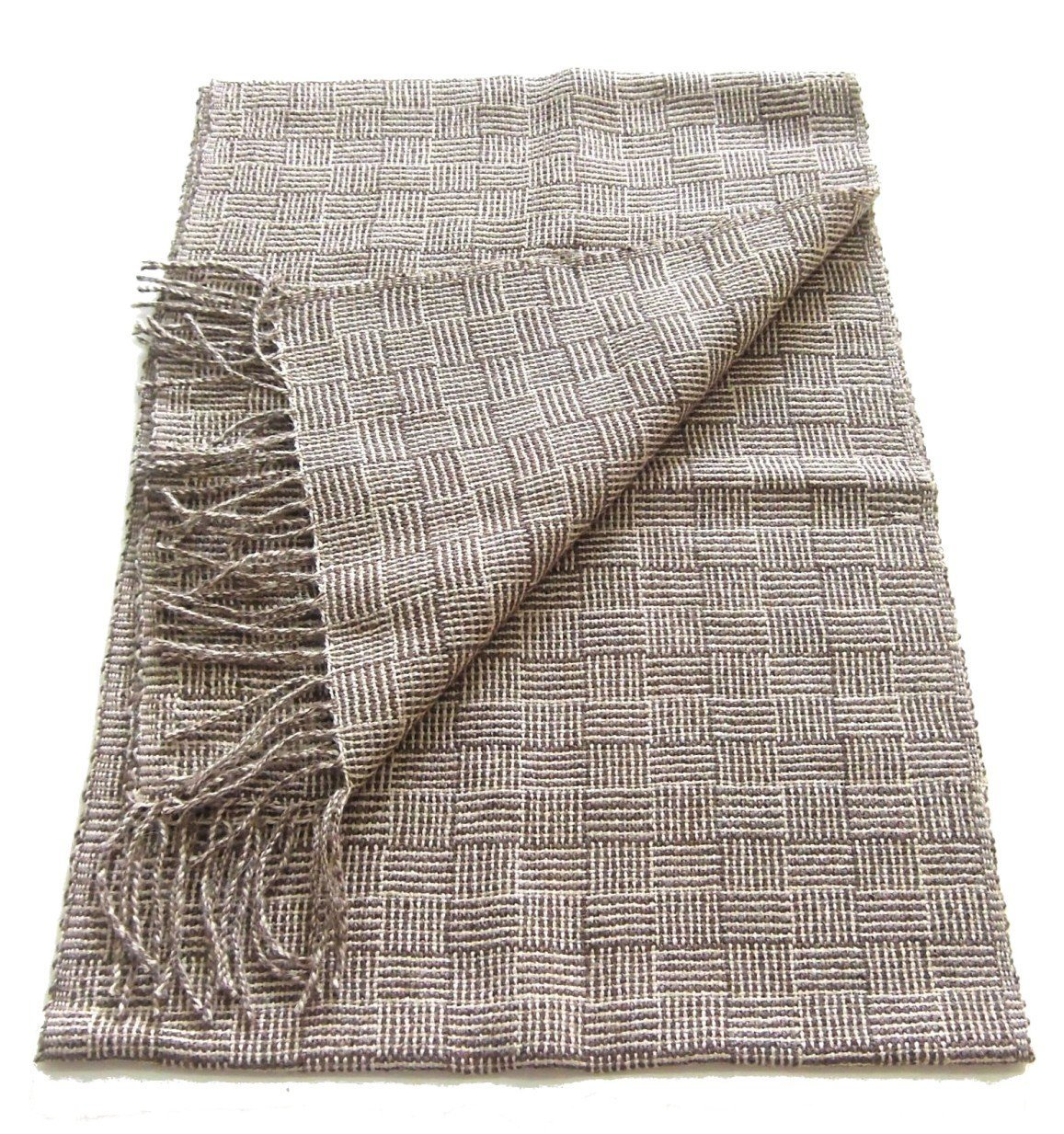 Alpakaandmore 100% Baby Alpaca Wool Woven Scarf, 63x12 Inch Without Fringles ...