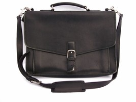 COACH Black Leather Briefcase Attache Messenger... - $89.95