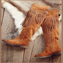 Rustic Fringed Full Grain Suede Leather Zip Tall Knee High Tassel Cowgirl Boots