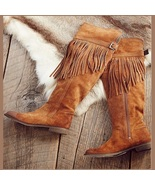 Rustic Fringed Full Grain Suede Leather Zip Tall Knee High Tassel Cowgir... - $342.95