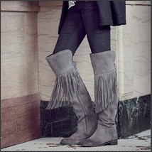 Rustic Fringed Full Grain Suede Leather Zip Tall Knee High Tassel Cowgirl Boots image 2