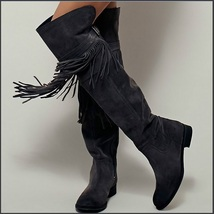 Rustic Fringed Full Grain Suede Leather Zip Tall Knee High Tassel Cowgirl Boots image 3