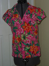 Caribb EAN Joe Knit Top Shirt Size S Stretch Pink Green Floral Msrp:$34.00 Nwt - $16.98