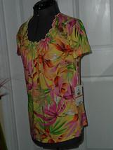 Caribb EAN Joe Knit Top Shirt Size S Lemon Zest Multi Color Msrp:$42.00  Nwt - $17.98