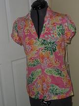 Caribb EAN Joe Knit Top Shirt Size Ps Pink Floral Print Msrp:$34.00  Nwt - $16.98