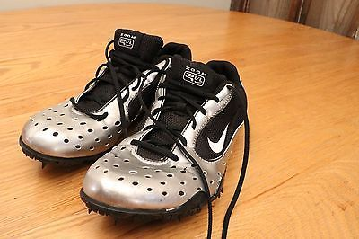 Nike Air Zoom Silver Cleats Soccer Track Volleyball Shoes Athletic Size 7.5