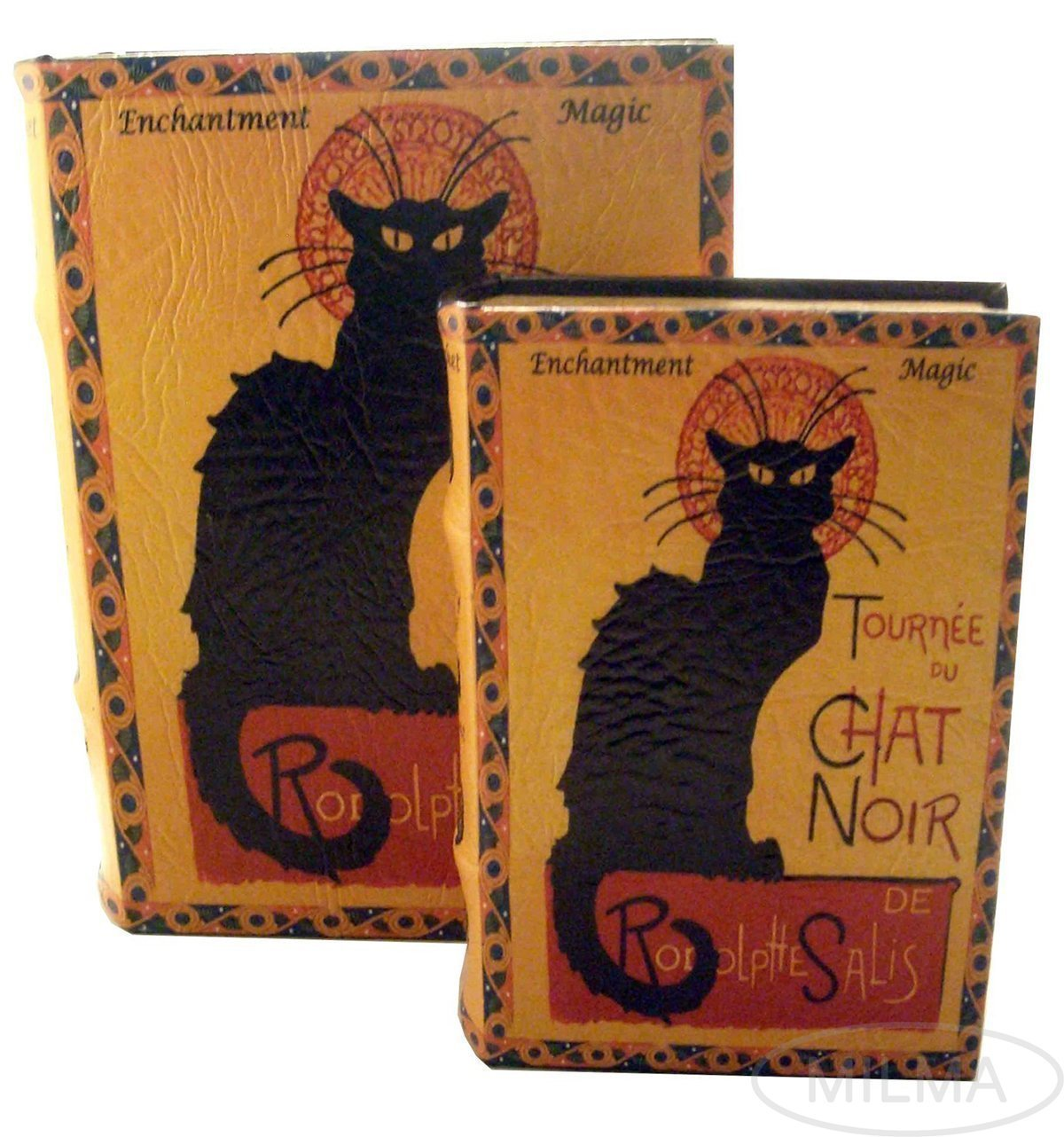 Primary image for LE CHAT NOIR by Steinlen Black Cat Secret Book Box Set Jewelry Keepsake Trink...