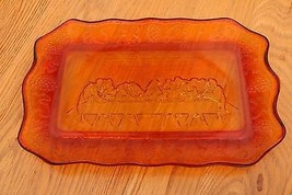 Vintage Indiana Glass Last Supper Amber Tray - $16.81