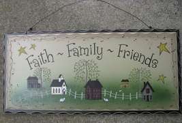 2476FFF-Faith Family Friends Wood Hanging Sign  - $6.95