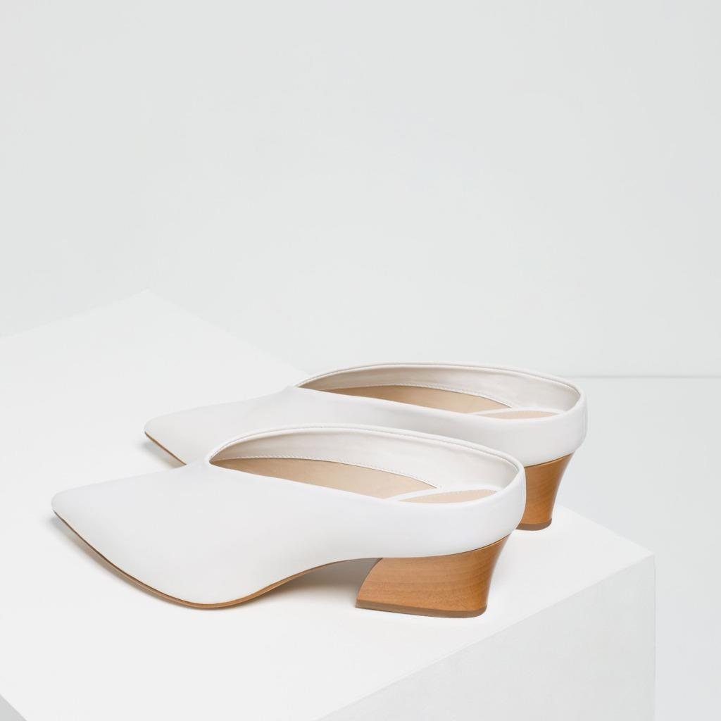Bnwt Zara White Leather Mule Shoes