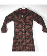 Mimori Japan Womens XS Dress Vintage Geometric Print Holiday Button Front - $140.24