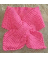 hand knitted hot pink lotus leaf neck scarf and... - $10.00