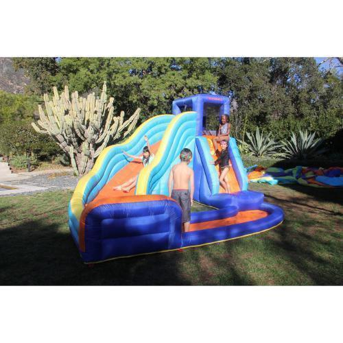Pools For Backyards Inflatable : Inflatable Pool With Slide Backyard Fun Climbing Wall Curve Fun For