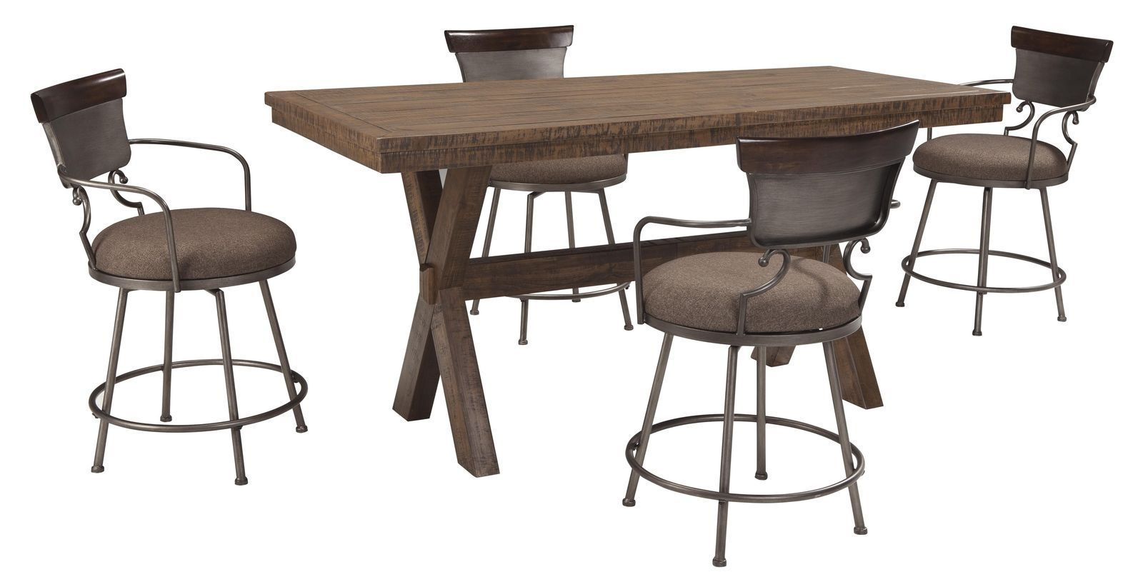 Signature design d608 624 walnord rustic brown 5 pcs for Brown dining table set