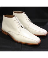 New Handmade Men,s White Boots, Men Ankle Boots, Men Leather Boots, dres... - $179.99