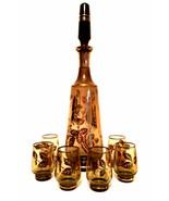 Bohemia Glass Decanter Six Glasses Smokey Glass Gold Floral Trim Czechos... - $122.76