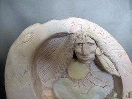 """Bas Relief Comanche One Sided Stand Alone Sculpture """"Spirit Mountain"""", Signed - $85.00"""