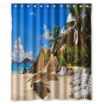 Chair In The Beach #01 Shower Curtain Waterproof Made From Polyester - $29.07+