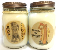 Got peaNUTS? & Smell My Wiener Set of Two 16oz All Natural Soy Candles N... - €22,91 EUR