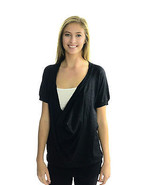 L Joie Black Drape/Cowl Neck Black Metallic Kni... - $31.01