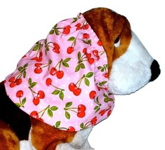 Howlin Hounds Dog Snood Red Bunches of Cherries on Pink Cotton Size Large - $12.50