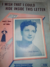 Vintage I Wish I Could Hide Inside This Letter Sheet Music 1943 - $2.99