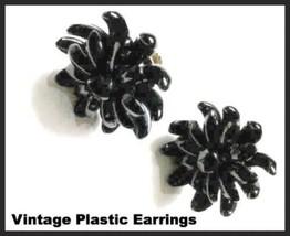 Vintage Black Earrings Spike Plastic Screw Back Earrings Jewelry Made in... - $45.00