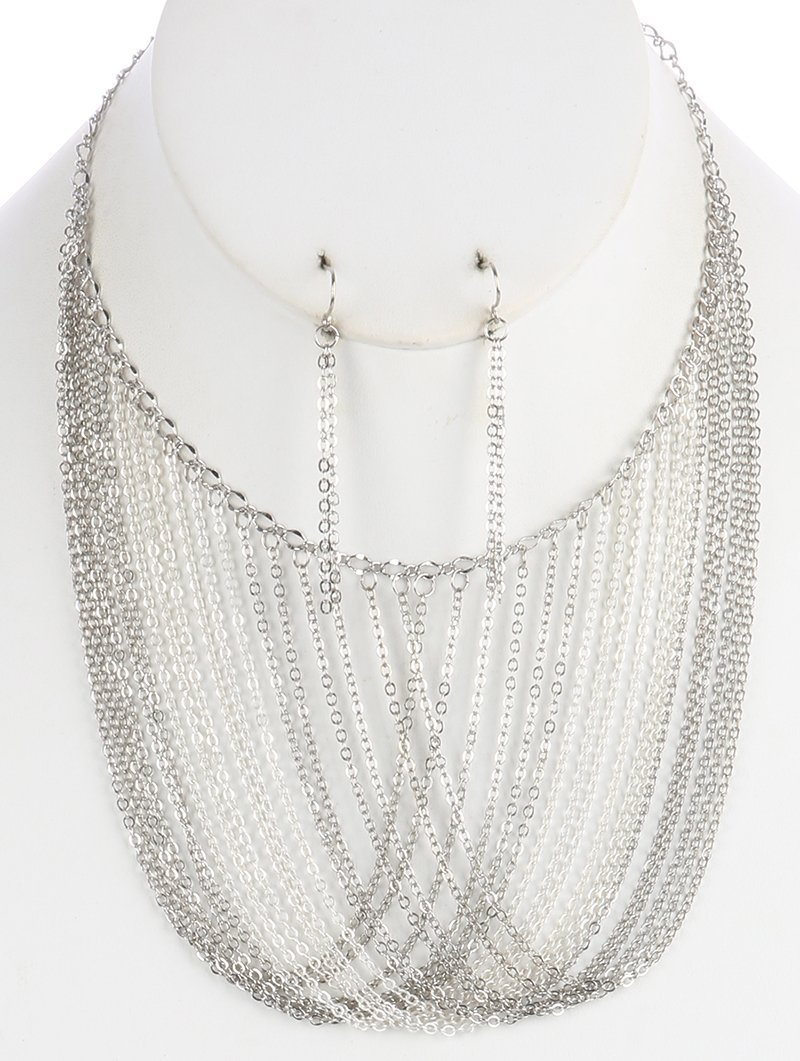 Chain Silver-Tone Drape Bib Necklace and Earrings Set