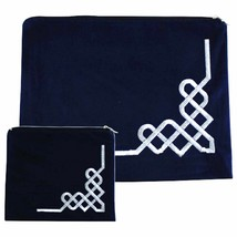 Tallit Tefillin Bag Case Set Plush Velvet Dark Blue Silver Embroidery Judaica