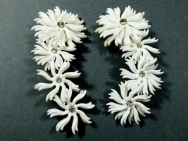 "VTG White Soft Plastic Flower Rhinestone Daisy Flex Design Unique 4""L - $44.55"
