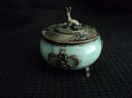 Antique Collectible Celadon Jade Stone Silver Rabbit/Dragons Marked on B... - $299.98